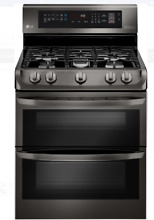 LG LDG4315BD 30 In Black Stainless Steel Double Oven Gas Range