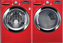 LG Cherry Red Washing Machine WM3670HRA   Steam Dryer DLEX3370R Laundry Bundle