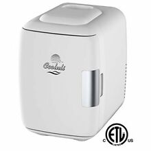 Portable Electric Fridge Cooler Warmer On The Go USB Holds 6 Cans   White