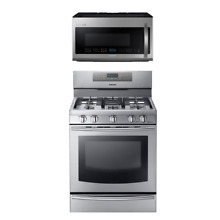 Samsung NX58F5700WS Gas Range   Samsung Chef Collection ME21H9900AS Microwave