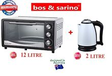 Kitchen Package 12L 800W Toaster Oven Black Silver   2L White Cordless Kettle