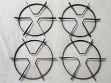 Lot of 4 Gas Range Stove Top Black Enamel Round Cooking Grates 7 1 2  OD Rusty