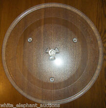 14 1 8  GE WB57K5313 Microwave Clear Glass Turntable Plate Tray Good Used Clean