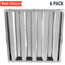Commercial Kitchen Stainless Steel Exhaust Hood Vent Grease Filter Baffle 6 PACK