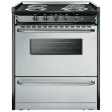Summit Professional 30 Inch 4 Burner Slide In Electric Range   Stainless Steel
