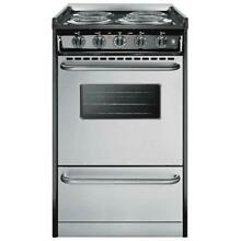 Summit Professional 20 Inch 4 Burner Slide In Electric Range   Stainless Steel