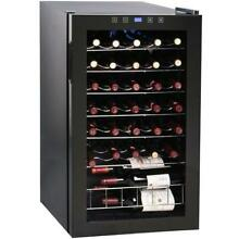 VinoTemp 34 Bottle Touchscreen Wine Cooler   Glass Door   Black Cabinet