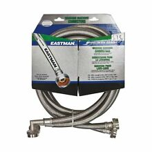 Eastman 41065 Stainless Steel Washing Machine Hose with Elbow  5 Ft Pair  Sil