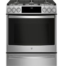 GE Profile Series PGS930SELSS 30  Slide In Front Control Gas Range