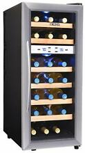Stainless Steel 21 Bottle Dual Zone Wine Cooler w  Wood  Compact LED Fridge Unit