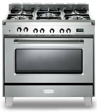 VERONA VCLFSGE365SS 36  PRO STYLE DUAL FUEL GAS RANGE OVEN STAINLESS STEEL