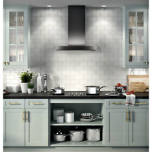 GE Profile UVW9301BLTS 30  Wall Mount Chimney Hood w  Wifi Connect   Black SS