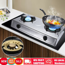 Propane Stove 2 Burner Dual Gas Stove Camping Kitchen Cooktop Cooker Stainless