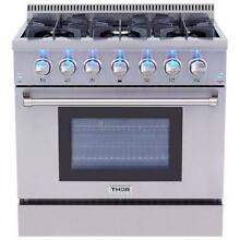 Thor Kitchen HRD3606U 36  Professional Stainless Steel Dual Fuel Range