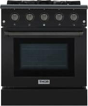Thor Kitchen HRG3080BS 30  Professional Black Stainless Steel Gas Range
