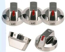 5 Pack DG64 00473A Stainless Steel Knob Range Oven for Samsung NX58F5700WS NEW