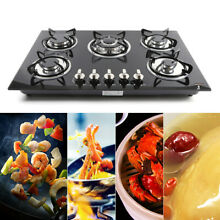 Black Cook Top 30  Tempered Glass Built in 5 Burner Stove NG Gas Hob Cooktops