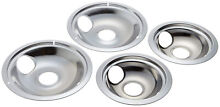 Electric Stove Drip Pans Chrome Lot Burner Covers Top Replacement Set