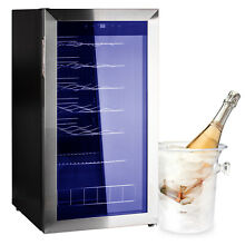Wine Cooler Cabinet Small Beverage Refrigerator 28 Bottles Beer Bar Fridge Black