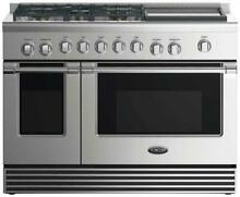 DCS RDV2485GDN 48  Stainless Steel 5 Burner Dual Fuel Range w Illuminated Knobs