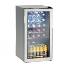 28 Bottles Compressor Wine Beverage Cooler Fridge Stainless Steel Glass Door