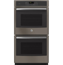 GE Profile 27  Electric Double Wall Oven with 8 6 cu  ft SLATE PK7500EJES
