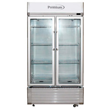 Premium 16 CuFt Double Glass Door Upright Display Cooler Merchandiser Refrigerat