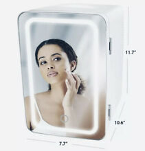 SUPER Cute Personal Chiller LED Lighted Mini Fridge with Mirror  White