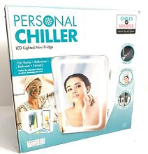NEW Personal Chiller LED Lighted Mini Fridge w Mirror Door Chill or Warm   White