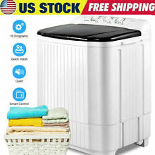 26LBS Compact Top Load Washing Machine Portable 2Tubs Laundry Washer and Dryer