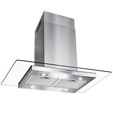 36  Island Mount Stainless Steel Tempered Glass Button Panel Kitchen Range Hood