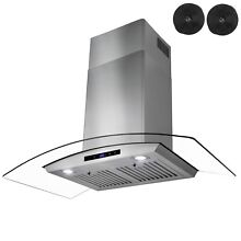 36  Wall Mount Range Hood Touch Panel with Carbon Filters Ductless Ventless