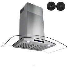 36  Wall Mount Stainless Steel Glass Range Hood Ventless Ductless CARBON FILTER