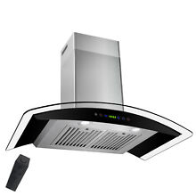 36  Wall Mount Stainless Steel Tempered Glass Touch Panel Kitchen Range Hood