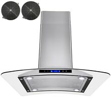 30  Island Mount Ductless Ventless Stainless Steel Range Hood w  Carbon Filters