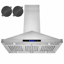36  Island Mount Stainless Steel Kitchen Range Hood Stove Ductless Touch Control