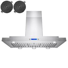 30  Wall Mount Ductless Stainless Steel Range Hood LED Push Button Panel Display