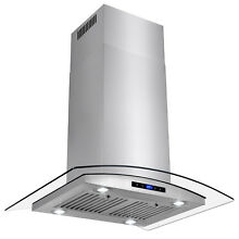 30  Stainless Steel Island Mount Range Hood Tempered Glass Touch Panel Modern