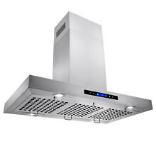 New 36  Kitchen Island Mount Stainless Steel Range Hood Vent w  Baffle Filters