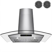 30  Glass Stainless Steel Ventless Wall Mount Range Hood w  Baffle Filters