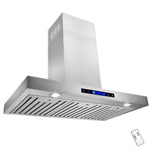 Kitchen 36  Stainless Steel Wall Mount Powerful Range Hood Baffle Filters Remote