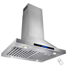 30  Stainless Steel Island Range Hood Dual LED Touch Screen Remote Vent
