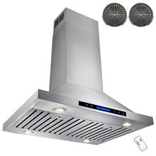 30  Stainless Steel Island Range Hood Remote Dual LED Touch Screen Carbon Filte