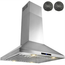 30  Stainless Steel Island Mount Range Hood Touch Screen Ductless Vented