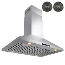 36  Stainless Steel Island Mount Range Hood Touch Screen Ductless Vented