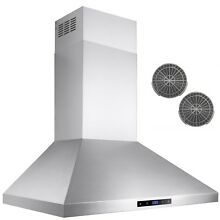 30  Stainless Steel Wall Mount Range Hood Touch Screen Display Ductless Vent