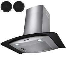 30   Stainless Steel Wall Mount Range Hood Black Tempered Glass Kitchen Vent
