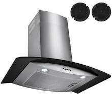 30  Wall Mount Stainless Steel Glass Range Hood Black Tempered Glass