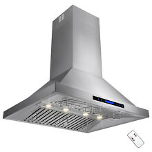 36  Stainless Steel Touch Screen Display Baffle Island Mount Range Hood