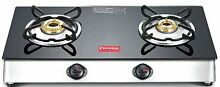 Prestige Marvel 2 Burner Cooktop Glass Top Range Black Gas Stove Manual Ignition